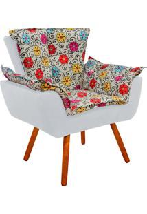 Poltrona Decorativa Opala Suede Composê Estampado Floral Color D17 E Suede Cinza - D'Rossi