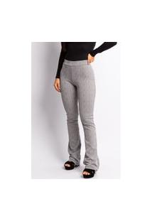 Calça Pantalona Feminina Xadrez Cinza