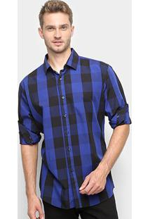 Camisa Xadrez Watkins&Krown Masculina - Masculino-Marinho+Azul