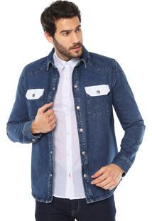 Camisa Jeans Calvin Klein Jeans Bicolor Azul