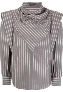 Isabel Marant Striped Cowl-Neck Draped Blouse - Cinza