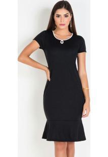Vestido Com Gota Preta Moda Evangélica