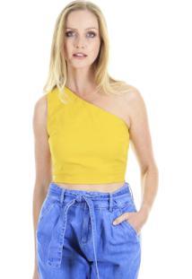 Blusa Top Ombro Único Amarelo - Azul - Kanui