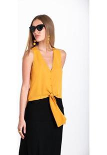 Regata Wool Line Com Amarração - Feminino-Amarelo Escuro