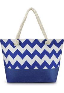 Bolsa De Praia Estampada Lisa Com Alça De Corda Jacki Design Azul Marinho - Kanui