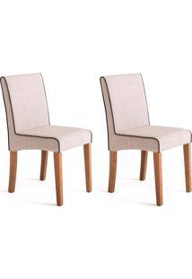 Conjunto Com 2 Cadeiras De Jantar Dora I Creme E Castanho