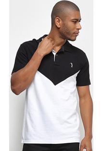 Camisa Polo Aleatory Bicolor Masculina - Masculino-Preto