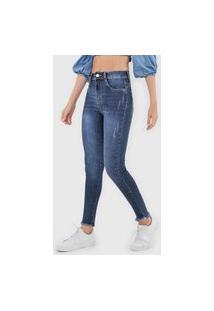 Calça Jeans Sawary Skinny Desgastes Azul
