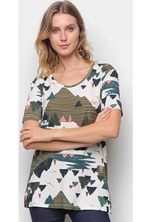 Camiseta T-Shirt Cantão Boyfriend Montanha Feminina - Feminino-Branco
