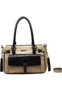 Bolsa De Couro Recuo Fashion Bag Baú Bege/Marsala