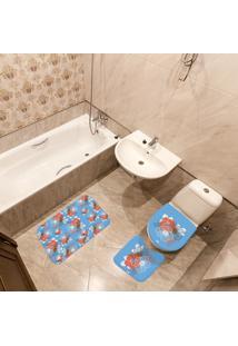 Jogo De Banheiro Floral Azul Único