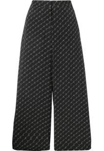 Stella Mccartney Calça Pantalona Com Logo - Preto