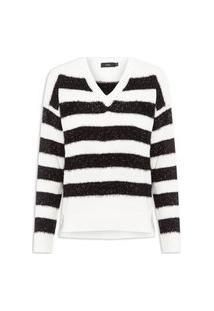 Blusa Feminina Mixed Striped Furry Lurex - Branco