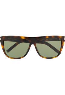 Saint Laurent Eyewear Óculos De Sol Oversized - Marrom