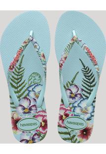 Chinelo Feminino Havaianas Slim Sensation Estampado Floral Azul Claro