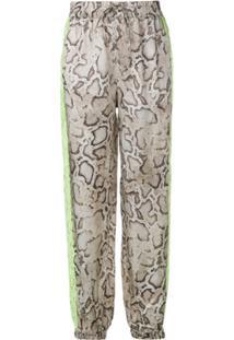 Pinko Snakeskin Print Drawstring Trousers - Marrom