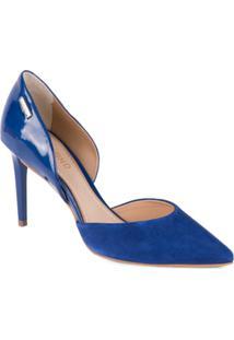 Sapato Dumond Scarpin Aberto Na Lateral - Feminino-Marinho