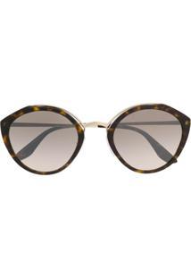 Prada Eyewear Óculos De Sol Tartaruga De Gatinho - Preto