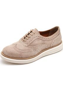 Sapato Social Top Franca Shoes Oxford Camurca Bege