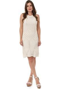 c012221e35 ... Vestido Tricot Curto Regata Rendado Feminino - Feminino-Off White