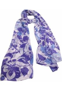 Echarpe Smm Acessorios Floral Azul