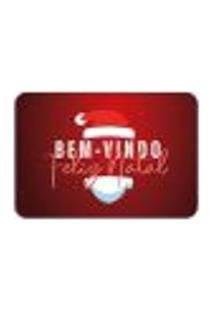 Tapete Decorativo Mdecore Feliz Natal Papai Noel Vermelho 40X60Cm