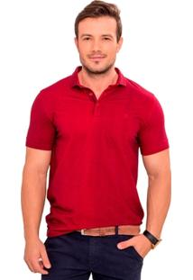 Camisa Polo Vinho Com Maquinetado - Masculino