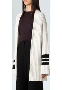 Cardigan Fem Over Stripes E-Fabrics-Offwhite Preto - P