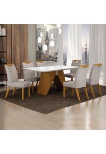 Conjunto Sala De Jantar Mesa Tampo De Vidro Branco 6 Cadeiras Verona Leifer Imbuia Mel/Off White/Pena Palha