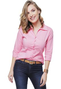Camisa Sob Feminina Lisa Rosa Algodão