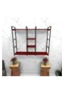 Estante Estilo Industrial Sala Aço Cor Preto 120X30X98Cm Cxlxa Cor Mdf Vermelho Modelo Ind47Vrsl