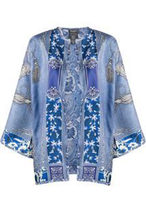 Etro Kimono Com Estampa Paisley - Azul