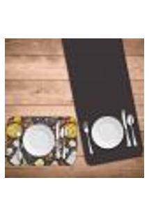 Jogo Americano Com Caminho De Mesa Wevans Pizza Kit Com 4 Pçs + 1 Trilho