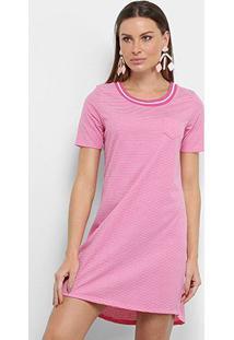 Vestido Blusão Lecimar Listrado Bolso - Feminino-Pink