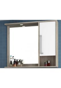 Espelheira Para Banheiro Com Led 1 Porta 2 Prateleiras E Nicho Luise Móveis Bosi Barrique/Branco