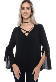 Blusa B'Bonnie Mangas Com Fenda E Detalhe Em Tiras Milena - Feminino-Preto