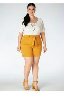 Blusa Plus Size Off White Em Laise
