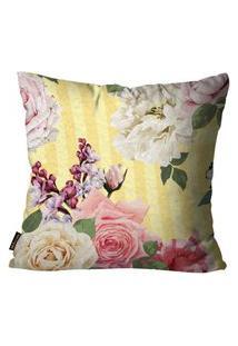 Capa Para Almofada Premium Peluciada Mdecore Floral Colorido 45X45Cm Bege