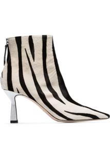 Wandler Ankle Boot Estampa De Zebra 'Lina' 75Mm - Branco