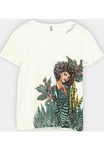Camiseta Colcci Tropicaleza Feminina - Feminino-Areia
