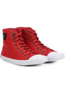Sapatênis Calvin Klein Cano Alto Lona Masculino - Masculino-Vermelho