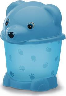 Lixeira Transparente Com Pé E Tampa 2,6L Urso Yoyo Baby Azul Translucido