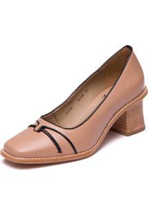 Sapato Nude Em Couro Pelica - Nude / Preto 9306