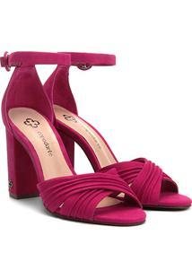 Sandália Capodarte Em Suede Feminina - Feminino-Pink