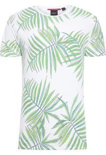 Camiseta Masculina Folhas - Branco