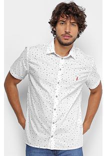Camisa Coca-Cola Manga Curta Estampada Masculina - Masculino-Branco