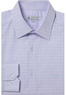 Camisa Dudalina Manga Longa Fio Tinto Maquinetado Xadrez Masculina (Roxo Claro, 45)