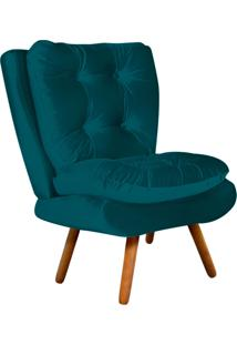 Poltrona Decorativa Tolucci Suede Azul Pavão Com Pés Palito - D'Rossi