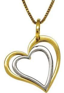Pingente Em Ouro De Coração Duplo Vazado - Pg18197 Casa Das Alianças Feminino - Feminino-Ouro