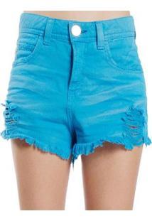 Shorts Sarja Destroyed Used Desfiado Color Colcci - Feminino-Azul